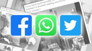 Stacks of article screenshots with Facebook, WhatsApp and Twitter logos on top