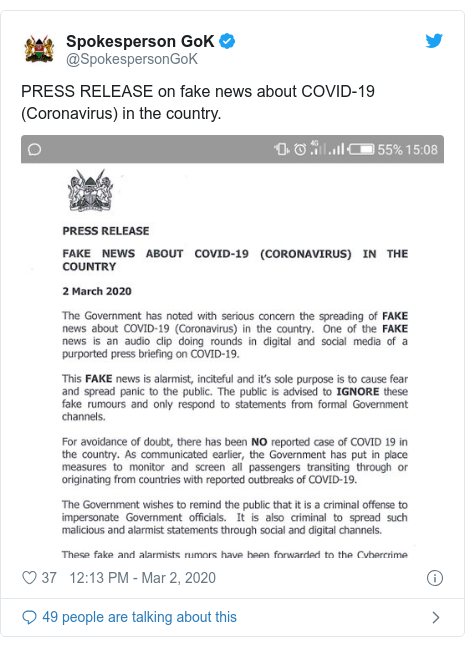 Twitter post by @SpokespersonGoK: PRESS RELEASE on fake news about COVID-19 (Coronavirus) in the country.